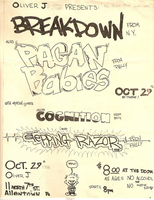 Breakdown-Pagan Babies-Cognition-Stepping Razor @ Oliver J Allentown PA 10-29-88