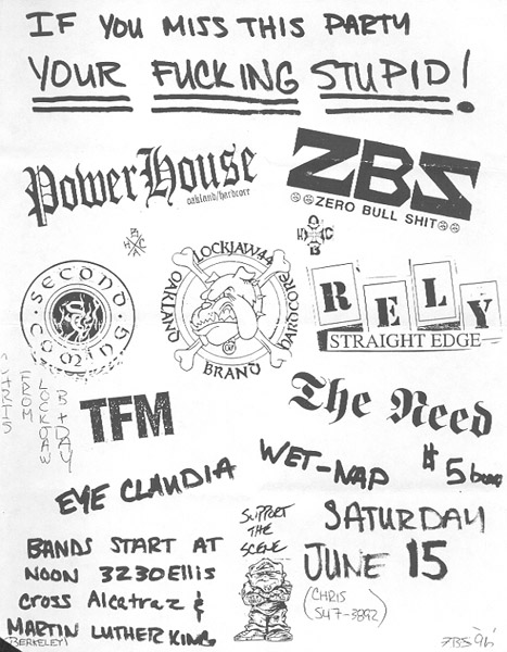 Powerhouse (CA)-ZBS-Second Coming-Lockjaw 44-Rely @ Berkeley CA 6-15-96