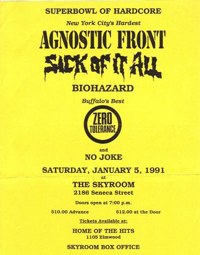 Agnostic Front-Sick Of It All-Biohazard-Zero Tolerance-No Joke @ The Skyroom 1-5-91