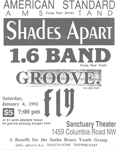 American Standard-Shades Apart-1.6 Band-Groove @ Sanctuary Theater Washington DC 1-4-92