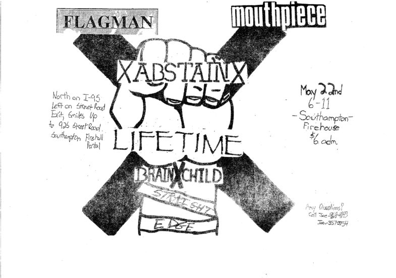 Flagman-Mouthpiece-Abstain-Lifetime-Brainchild @ South Hampton Firehouse South Hampton NJ 5-22-92