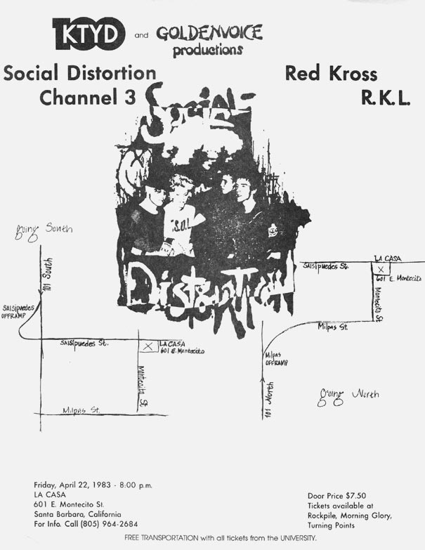 Social Distortion-Channel 3-Red Kross-Rich Kids On LSD @ La Casa Santa Barbara CA 4-22-83