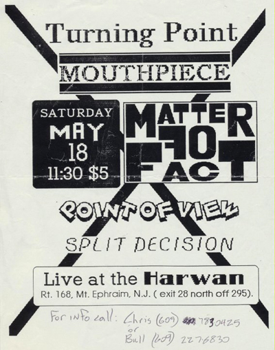 Turning Point-Mouthpiece-Matter Of Fact-Point Of View-Split Decision @ Harwan Ephraim NJ 5-18-91