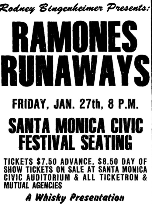 Ramones-Runaways @ Santa Monica Civic Center Santa Monica CA 1-27-78