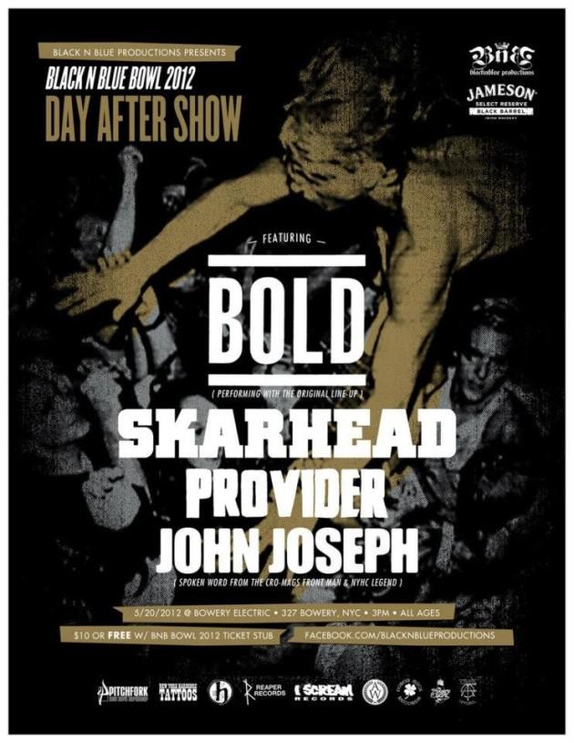 Bold-Skarhead-Provider-John Joseph @ Bowery Electric New York City NY 5-20-12