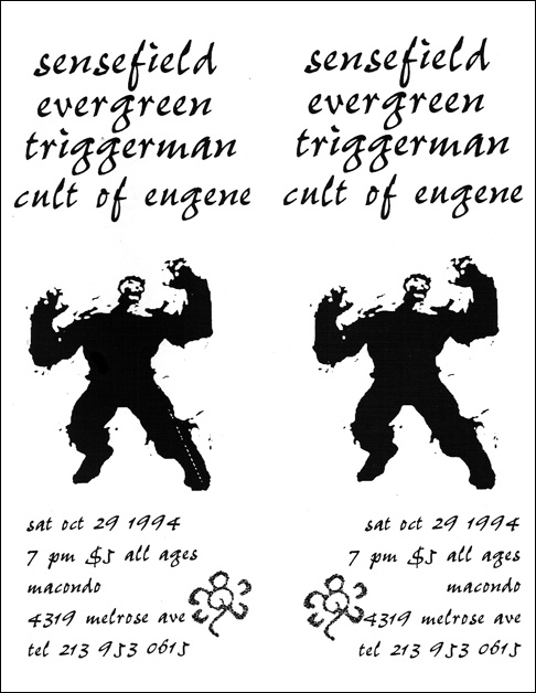 Sensefield-Evergreen-Triggerman-Cult Of Eugene @ Macondo Los Angeles CA 10-29-94
