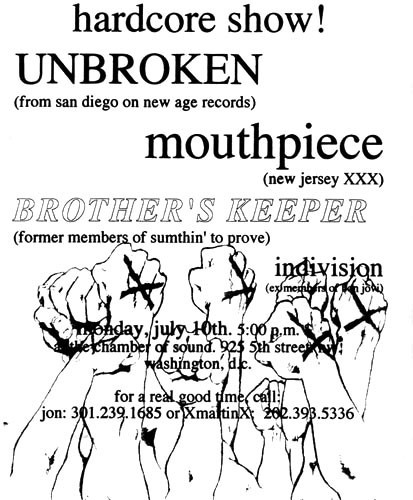 Unbroken-Mouthpiece-Brother's Keeper-Indivision @ Chamber Of Sound Washington DC 7-10-95