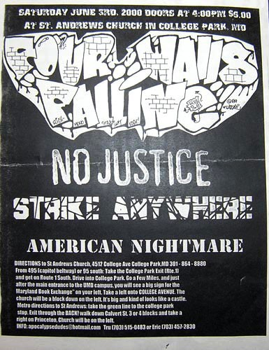 Four Walls Falling-No Justice-Strike Anywhere-American Nightmare @ St. Andrews Church College Park MD 6-3-00