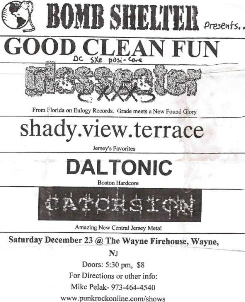 Good Clean Fun-Glasseater-Shady View Terrace-Daltonic-Catorsion @ Firehouse Wayne NJ 12-23-00