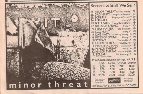 Dischord Records (Minor Threat)