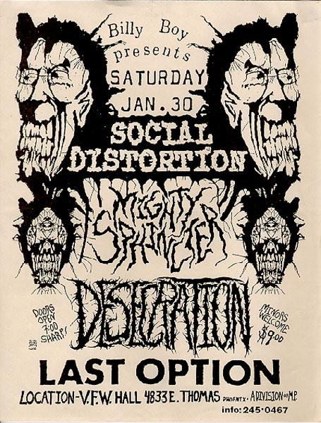Social Distortion-Mighty Sphincter-Desperation-Last Option @ VFW Hall Phoenix AZ 1-30-88