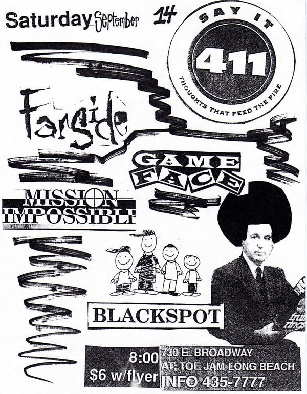 Four One One-Farside-Game Face-Mission Impossible-Blackspot @ Toe Jam Long Beach CA 9-14-91