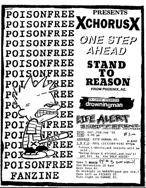 A Chorus Of Disapproval-One Step Ahead-Stand To Reason-Drowningman-Life Alert @ San Bernardino CA 2-2-91