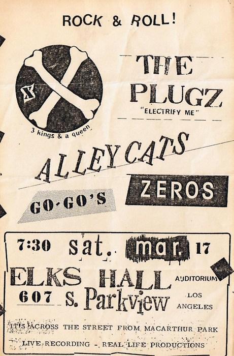 The Plugz-Alleycats-Zeros-The Go Gos @ Elks Hall Los Angeles CA 3-17-79