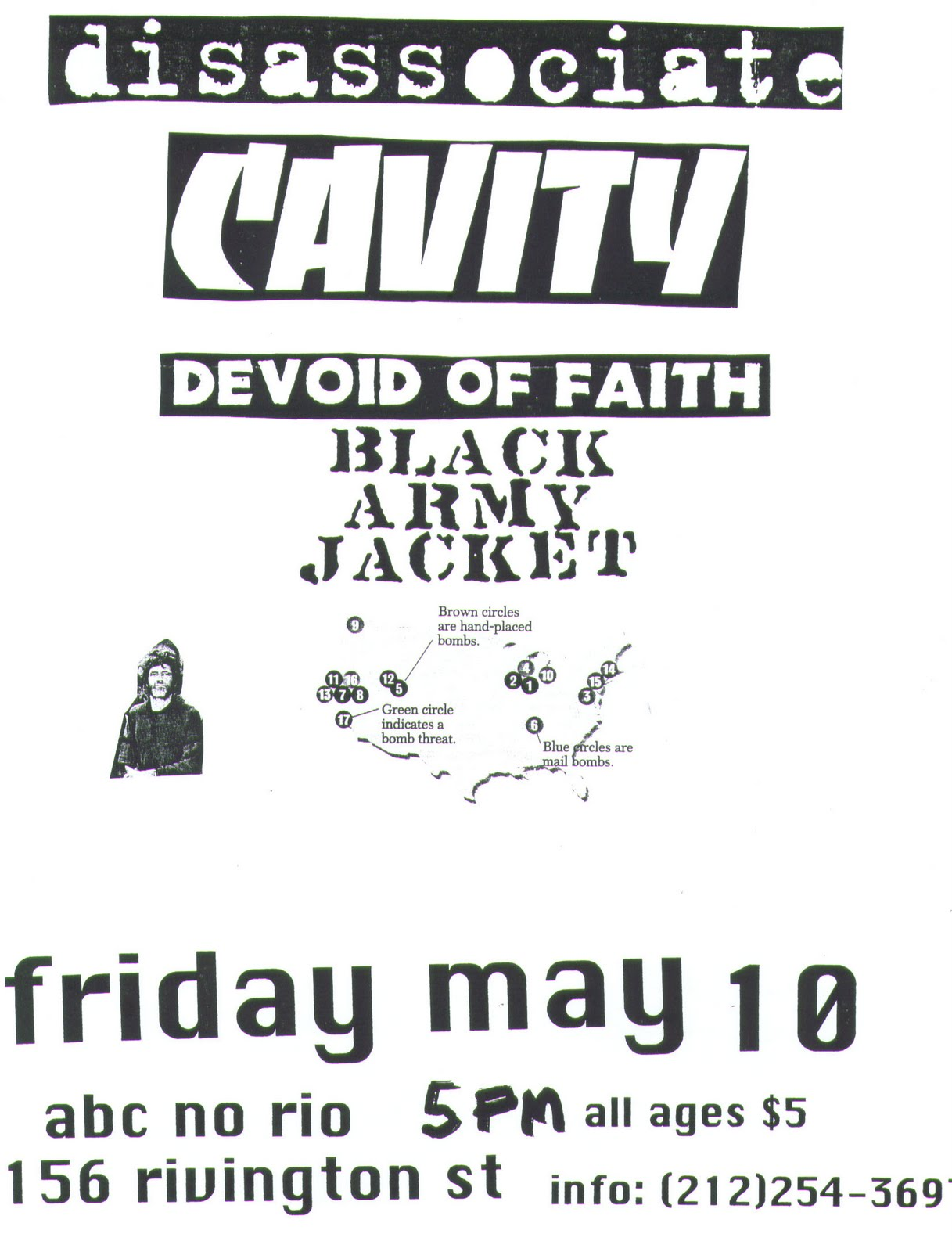 Disassociate-Cavity-Devoid Of Faith-Black Army Jacket @ ABC No Rio New York City NY 5-10-96
