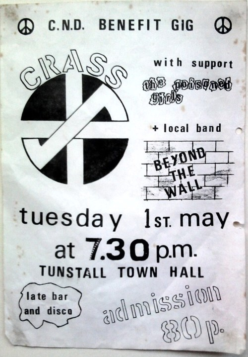 Crass-The Poisoned Girls-Beyond The Wall @ Tunstall Town Hall Tunstall England 5-1-79