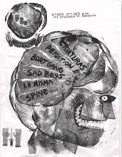 Criaturas-Perdition-Bort Gang-Sad Boys-La Nisma-Spine @ Brooklyn NY 10-25-12