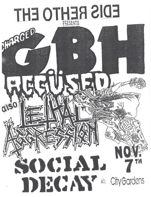 GBH-The Accused-Lethal Aggression-Social Decay @ City Gardens Trenton NJ 11-7-87