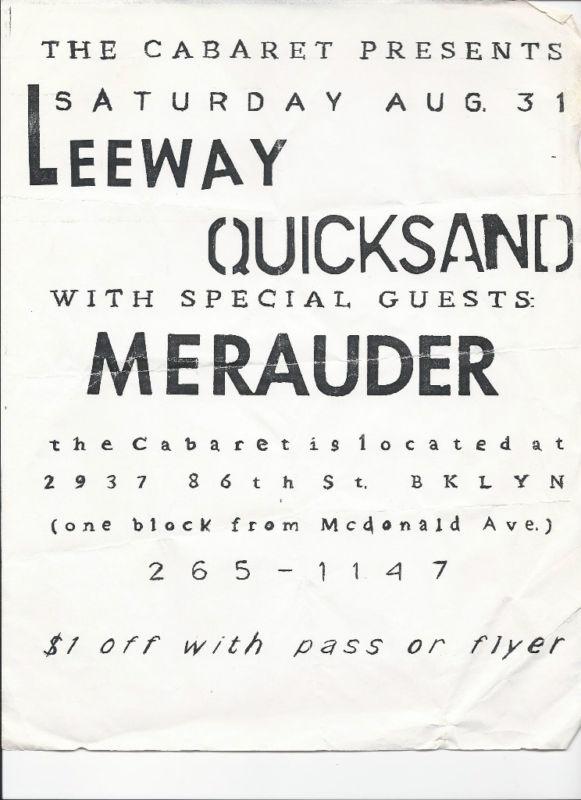 Leeway-Quicksand-Merauder @ Cabaret Brooklyn NY 8-31-90