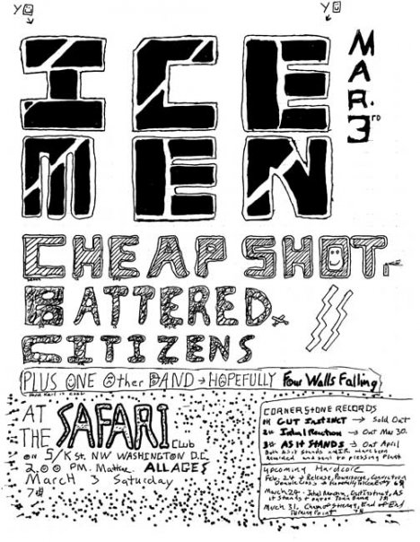 The Icemen-Cheap Shot-Battered Citizens @ Safari Club Washington DC 3-3-90