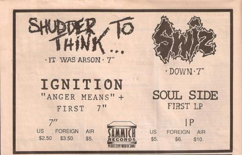 Sammich Records (Shudder To Think + Swiz + Soulside + Ignition