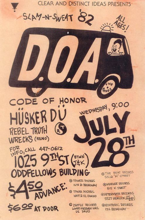 DOA-Code Of Honor-Husker Du-Rebel Truth-Wrecks @ Oddfellows Building Sacramento CA 7-28-82