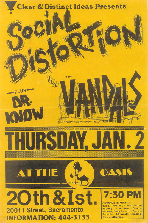 Social Distortion-The Vandals-Dr. Know @ The Oasis Sacramento CA 1-2-86