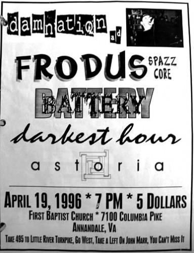 Damnation AD-Frodus-Battery-Darkest Hour-Astoria @ First Baptist Church Annandale VA 4-19-96