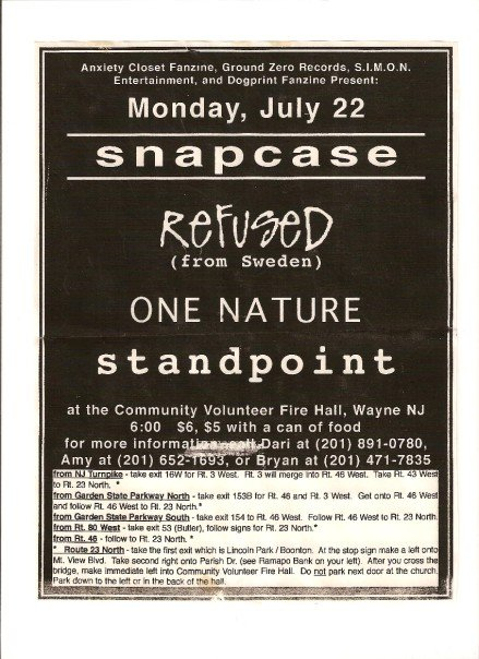 Snapcase-Refused-One Nature-Standpoint @ Volunteer Fire Hall Wayne NJ 7-22-96