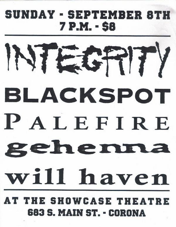 Integrity-Blackspot-Palefire-Gehenna-Will Haven @ Showcase Theater Corona CA 9-8-96