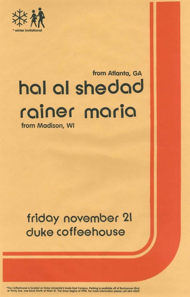 Hal Al Shedad-Rainer Maria @ Duke Coffeehouse Durham NC 11-21-97