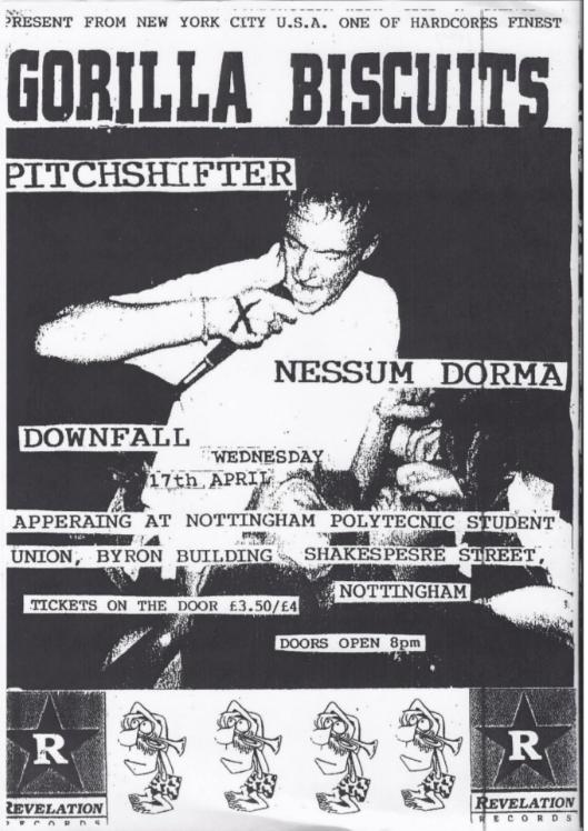 Gorilla Biscuits-Pitchshifter-Nessum Dorma-Downfall @ Nottingham England 4-17-91