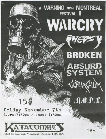 War Cry | Inepsy | Broken | Absurd System | Contagum | Hope @ Montreal Canada 11-7-11