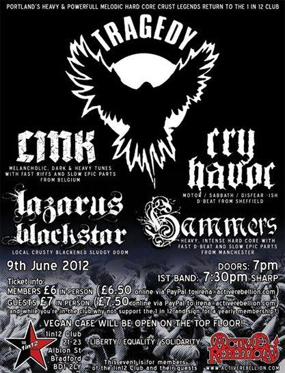 Tragedy | Link | Cry Havoc | Lazarus Blackstar | Hammers @ Bradford England 6-9-12