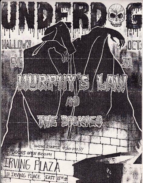 Underdog-Murphy's Law-The Dickies @ New York City NY 10-31-87