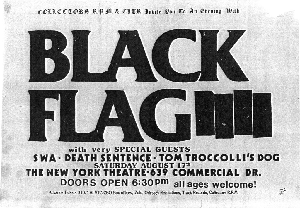 Black Flag-SWA-Death Sentence-Tom Troccolli's Dog @ Vancouver Canada 8-17-85