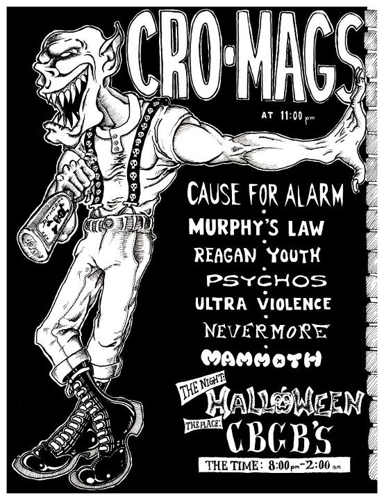 Cro Mags-Cause For Alarm-Murphy's Law-Reagan Youth-Psychos-Ultra Violence-Nevermore-Mammoth @ New York City NY 10-31-85