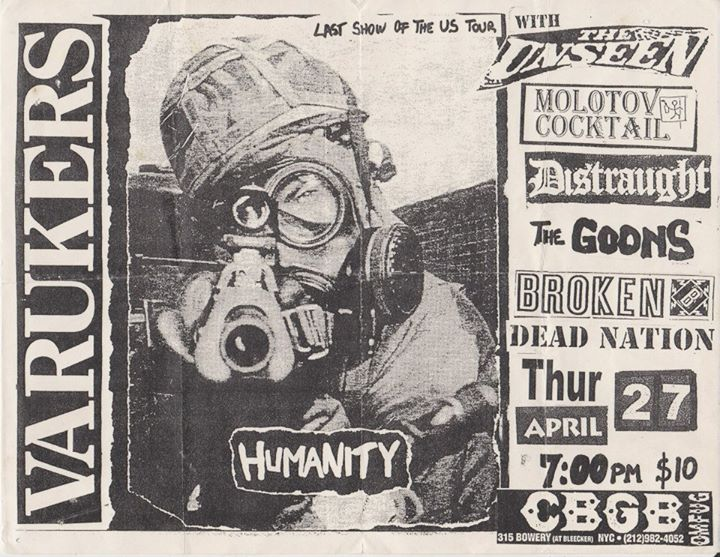 Varukers-The Unseen-Molotov Cocktail-Distraught-The Goons-Broken-Dead Nation @ New York City NY 4-27-00
