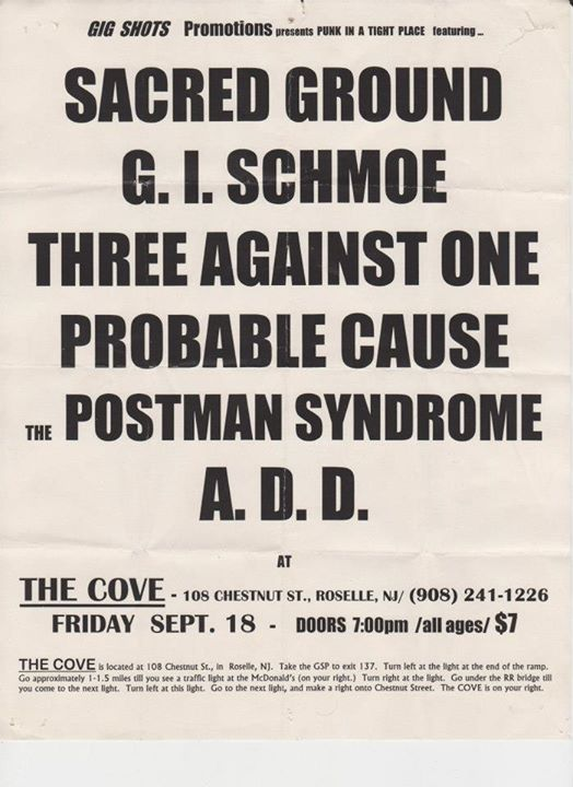 Sacred Ground-GI Schmoe-Three Against One-Probable Cause-Postman Syndrome-ADD @ Roselle NJ 9-18-98
