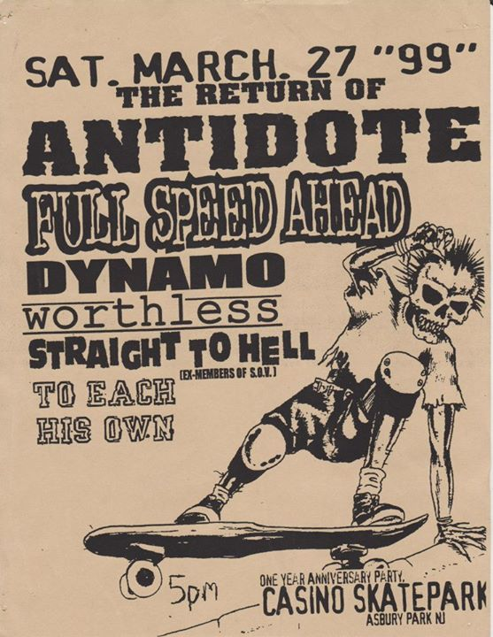Antidote-Full Speed Ahead-Dynamo-Worthless-Straight To Hell-To Each His Own @ Asbury Park NJ 3-27-99