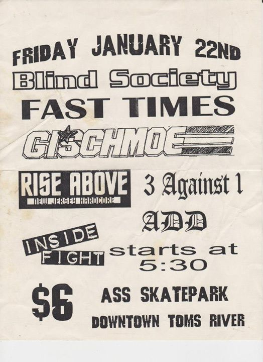 Blind Society-Fast Times-GI Schmoe-Rise Above-Three Against One-ADD-Inside Fight @ Toms River NJ 1-22-99