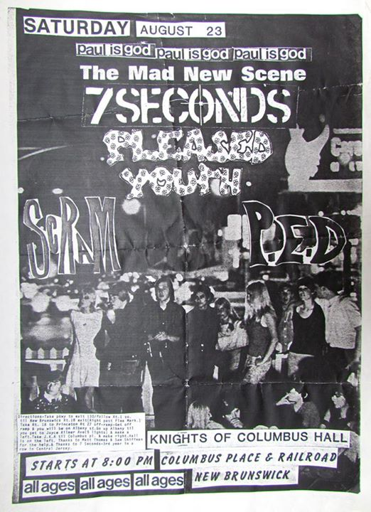 7 Seconds-Pleased Youth-Scram-Post Ejaculation Depression @ New Brunswick NJ 8-23-86