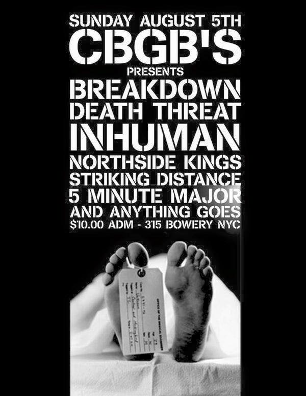 Breakdown-Death Threat-Inhuman-Northside Kings-Striking Distance-5 Minute Major-Anything Goes @ New York City NY 8-5-01