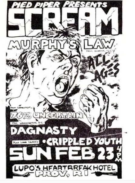 Scream-Murphy's Law-76% Uncertain-Dag Nasty-Crippled Youth @ Providence RI 2-23-86