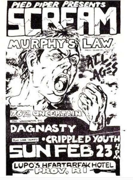 Scream-Murphy's Law-76% Uncertain-Dag Nasty-Crippled Youth @ Providence RI 2-23-86