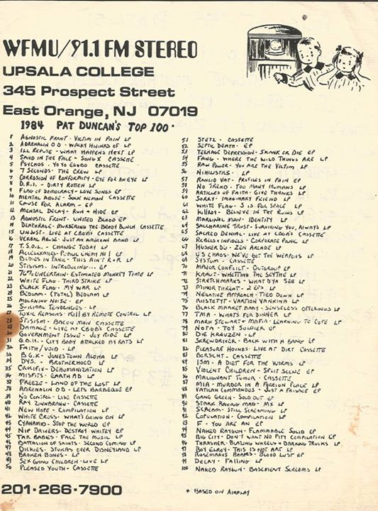 WFMU Pat Duncan's Top 100 Of 1984