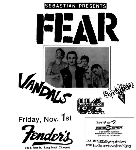 Fear-Vandals-Uniform Choice-Subculture @ Long Beach CA 11-1-85