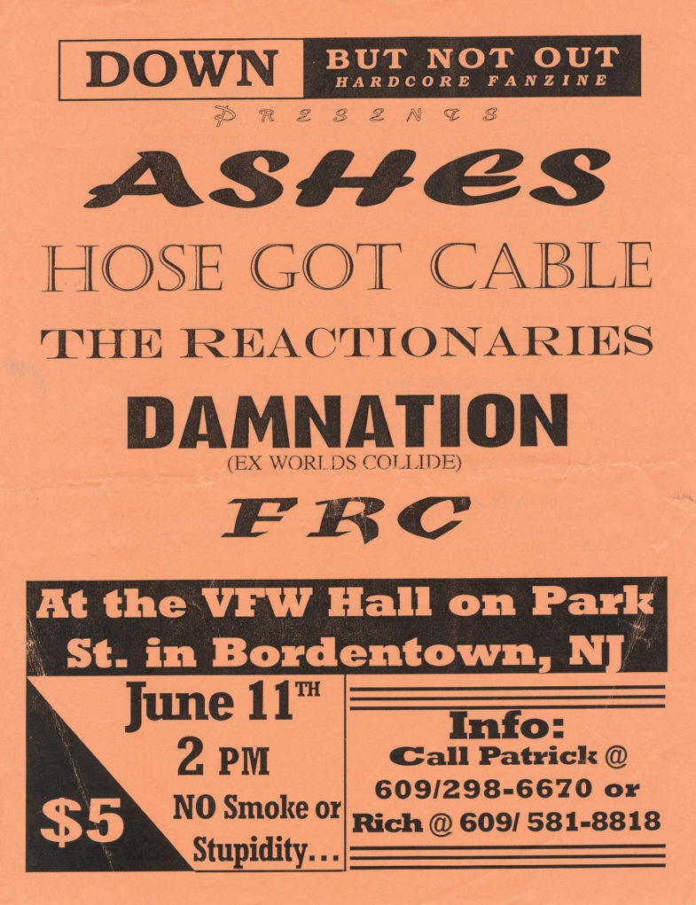 Ashes-Hose Got Cable-The Reactionaries-Damnation AD-FRC @ Bordentown NJ 6-11-95