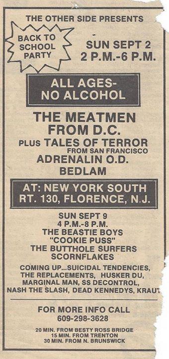Meatmen-Tales Of Terror-Adrenalin OD-Bedlam @ Florence NJ 9-9-84