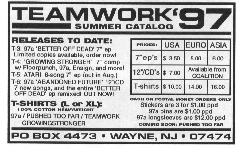 Teamwork Records Summer 1997